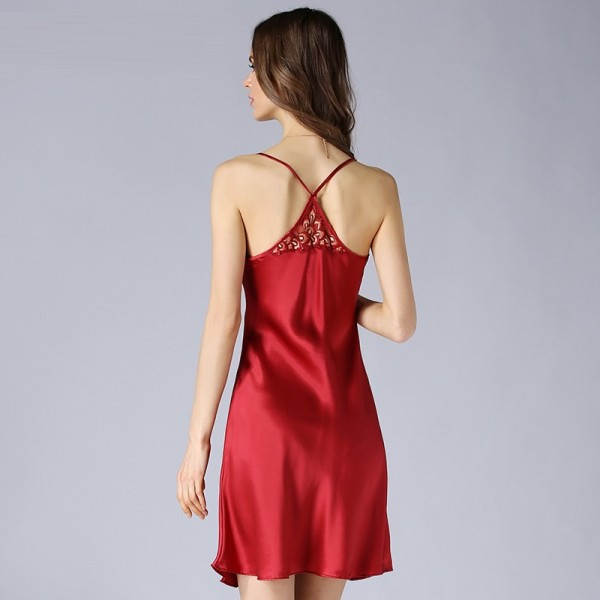 Sexy Sling Summer Red Silk Pajamas for Women