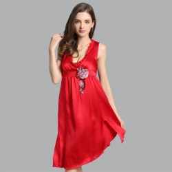 Summer Sexy Red Sling Silk Pajamas for Women