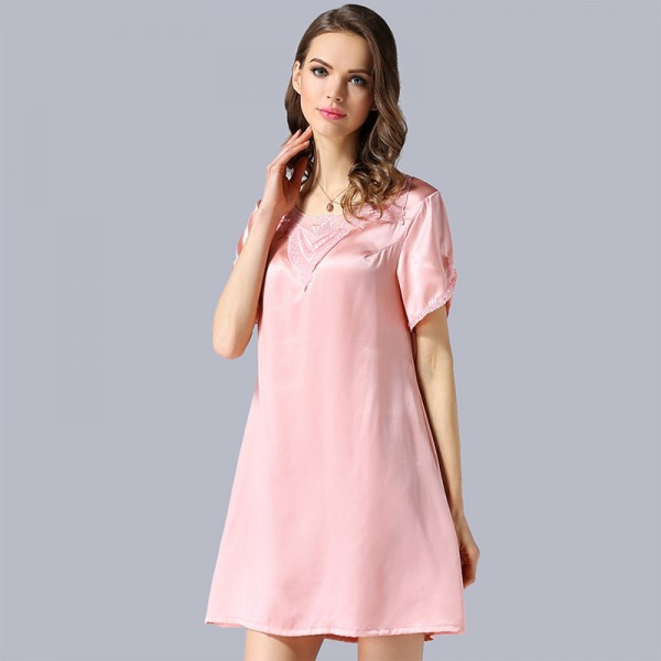 2017 Short Sleeves Silk Pajamas for Women