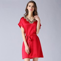 Elegant Short Sleeves Red Silk Pajamas for Women