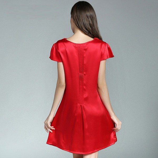 Short Sleeves Red Silk Pajamas for Women