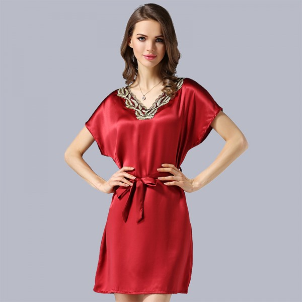 Elegant Short Sleeves Red Silk Pajamas for Women
